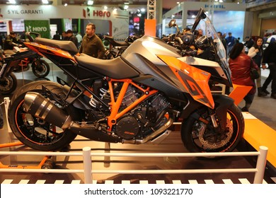 ISTANBUL, TURKEY - FEBRUARY 25, 2018: KTM 1290 GT on display at Motobike Istanbul in Istanbul Exhibition Center