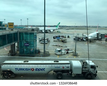 Istanbul, Turkey - February 25, 2019: Ataturk International Airport, view from the Departure terminal