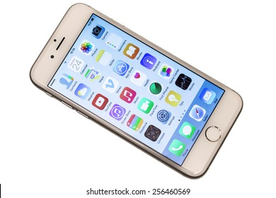 Istanbul, Turkey - February 26, 2015: iPhone 6 isolated on white background. Apple IPhone is one of the most popular smart phones in the world.