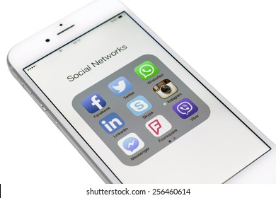 Istanbul, Turkey - February 26, 2015: Social networks, Facebook, Twitter, LinkedIn, Instagram, Skype and others on a smart phone