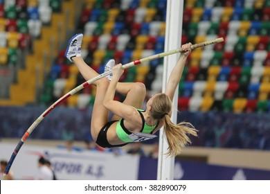 ISTANBUL, TURKEY - FEBRUARY 27, 2016: Athlete Nastja Modic pole vaulting in Balkan Athletics Indoor Championships