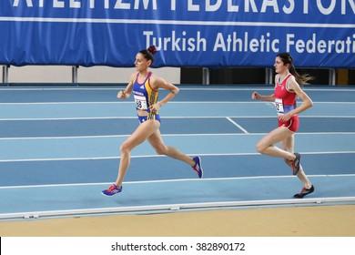 ISTANBUL, TURKEY - FEBRUARY 27, 2016: Athletes running in Balkan Athletics Indoor Championships