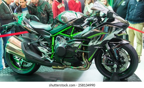 ISTANBUL, TURKEY - FEBRUARY 28, 2015: Kawasaki Ninja H2 in Eurasia Moto Bike Expo in Istanbul Expo Center
