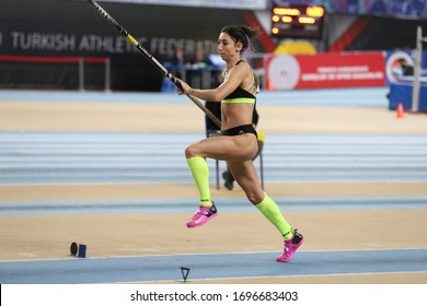 ISTANBUL, TURKEY - FEBRUARY 29, 2020: Undefined athlete pole vaulting during Ruhi Sarialp Jumping Events Indoor Cup