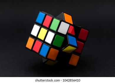 ISTANBUL - TURKEY - FEBRUARY 3, 2018: Rubik's cube on the black background. Rubik's Cube invented by a Hungarian architect Erno Rubik in 1974.