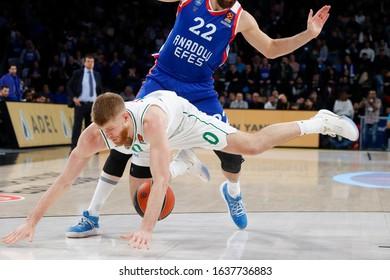 ISTANBUL / TURKEY - FEBRUARY 7, 2020: Thomas Walkupduring EuroLeague 2019-20 Round 24 basketball game between Anadolu Efes and Zalgiris Kaunas at Sinan Erdem Dome.