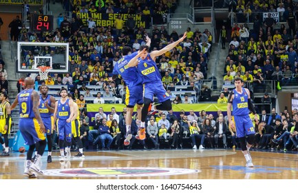 ISTANBUL / TURKEY - FEBRUARY 7, 2020: Deni Avdija	and Elijah Bryant celebrating score during EuroLeague 2019-20 Round 24 basketball game between Fenerbahce and Maccabi Tel Aviv at Ulker Sports Arena.