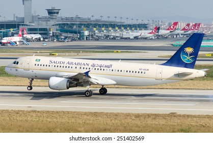 ISTANBUL , TURKEY - FEBRUARY 9, 2015: Aircraft of Saudi Arabian Airlines, is taking off from  Istanbul Ataturk International Airport on February 9, 2015 . Aircraft is an Airbus A320