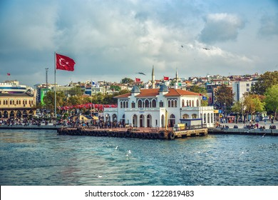 ISTANBUL, TURKEY: Ferry station at Asian part of Istanbul - Kadikoy district on October 18, 2018