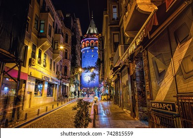 ISTANBUL, TURKEY: Galata tower at night. It is a famous landmark in the European side of Istanbul, on October 6, 2017