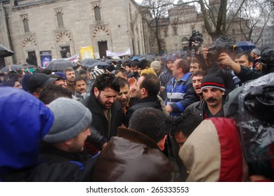 ISTANBUL, TURKEY - JAN  07: Undefined demonstrators protested against the publication of cartoons of the Prophet Muhammad on January  07,2006 in Istanbul,Turkey.
