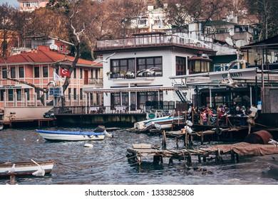 Istanbul, Turkey - Jan 19, 2008: Cengelkoy bay on Bosporus in Istanbul