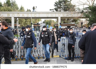 ISTANBUL, TURKEY - JAN 6, 2021: Turkish anti riot police officers stand guard at the main gate of the Bogazici university on in Istanbul during a protest against the appointment of the new rector.