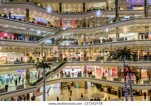 ISTANBUL, TURKEY - JANUARY 01: Cevahir Mall on January 01, 2012 in Istanbul, Turkey. Istanbul Cevahir Shopping and Entertainment Centre is one of the largest shopping mall in the world.