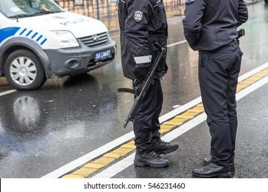 ISTANBUL, TURKEY - JANUARY 01: Police secure area near an Istanbul nightclub on January 01, 2017 in Istanbul, Turkey.