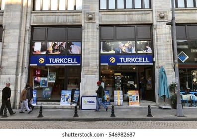 ISTANBUL, TURKEY - JANUARY 02, 2016:Turkcell store in Eminonut District..Turkish Gsm Company.GSM mobile communication started in Turkey when Turkcell started its operations in JANUARY 02, 2016