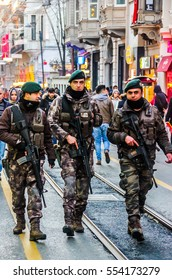 Istanbul, Turkey, January 02, 2017: Military men with weapon on the Istiklal street.