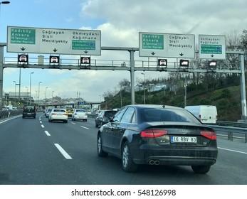 ISTANBUL, TURKEY - JANUARY 03, 2016:Traffic on e5 highway.
