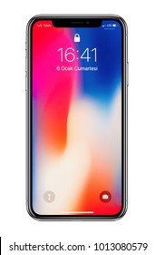 Istanbul, Turkey - January 06, 2018: Brand new white Apple iPhone X  front side isolate on white background with clipping path.