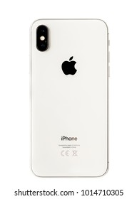 Istanbul, Turkey - January 06, 2018: Brand new white Apple iPhone X rear view isolate on white background with clipping path.