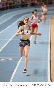 ISTANBUL, TURKEY - JANUARY 06, 2018: Athletes running during Turkish Athletic Federation Olympic Threshold Indoor Competitions