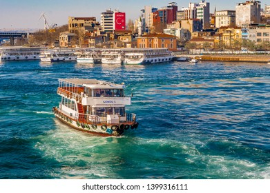 Istanbul, Turkey - January 06, 2018: Turyol ferry near Halic, a private ferry operator which owns and operates urban and international ferry service in western Turkey.