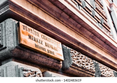 Istanbul, Turkey - January 06, 2018: Signboard of the Central Bank of the Republic of Turkey.