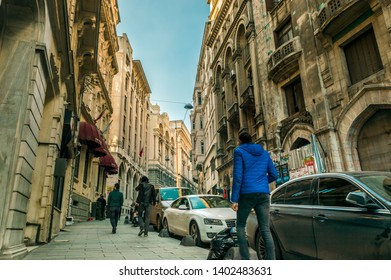 Istanbul, Turkey - January 06, 2018: People walking in touristic Karakoy area of Istanbul city, Turkey