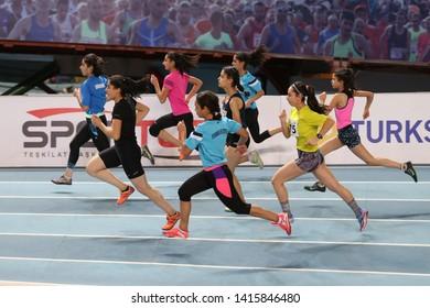 ISTANBUL, TURKEY - JANUARY 06, 2019: Athletes running during Turkish Athletic Federation Olympic Threshold Indoor Competitions