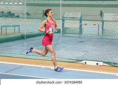 ISTANBUL, TURKEY - JANUARY 07, 2018: Undefined athlete running during Turkish Athletic Federation Olympic Threshold Indoor Competitions