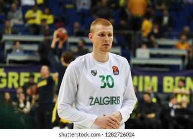 Istanbul / Turkey - January 10, 2019: Aaron White during EuroLeague 2018-19 Round 18 basketball game Fenerbahce Beko vs Zalgiris Kaunas at Ulker Sports Arena.