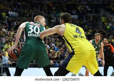 Istanbul / Turkey - January 10, 2019: Aaron White and Nicolo Melli during EuroLeague 2018-19 Round 18 basketball game Fenerbahce Beko vs Zalgiris Kaunas at Ulker Sports Arena.