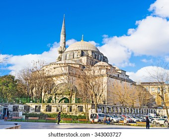 ISTANBUL, TURKEY - JANUARY 13, 2015: The Gazi Atik Ali Pasha Mosque is the medieval mosque located next to the Grand Bazaar and Column of Constantine, on January 13 in Istanbul.