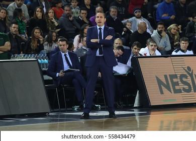 ISTANBUL, TURKEY - JANUARY 13, 2017: coach DAVID BLATT in EuroLeague match Darussafaka vs Baskonia