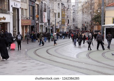 ISTANBUL, TURKEY - JANUARY 14, 2018: Isiklal street in Taxim district in the winter