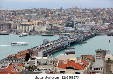 ISTANBUL, TURKEY - JANUARY 14, 2018: View of Golden Horn harbor and Galata bridge from Galata tower in the winter