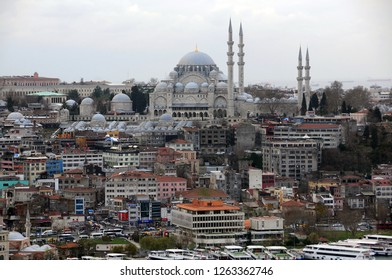 ISTANBUL, TURKEY - JANUARY 14, 2018: View of Suleymaniye mosque from Galata tower in the winter