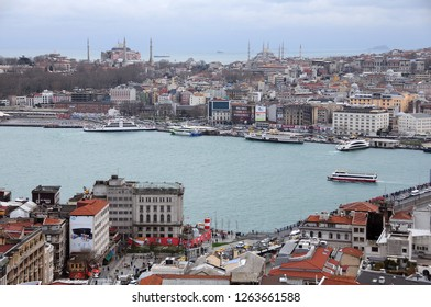 ISTANBUL, TURKEY - JANUARY 14, 2018: View of Golden Horn and Hagia Sophia and Sultanahmet mosques in the background