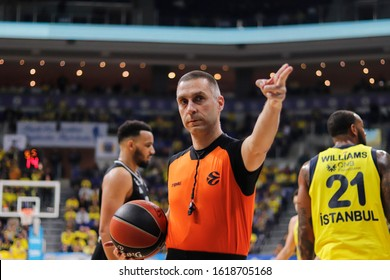 ISTANBUL / TURKEY - JANUARY 14, 2020: Referee Robert Lottermoser during EuroLeague 2019-20 Round 19 basketball game between Fenerbahce and LDLC Asvel at Ulker Sports Arena.