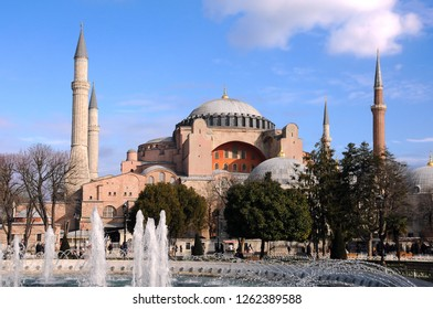 ISTANBUL, TURKEY - JANUARY 15, 2018: View of Hagia Sophia museum in Istanbul, Turkey, in the springtime