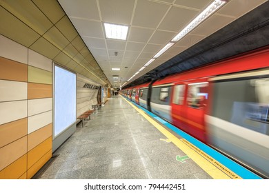 Istanbul, Turkey - January 15, 2018; Istanbul modern transport, metro station - The first subway line of Anatolian  side.