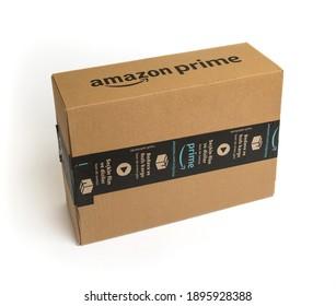 ISTANBUL, TURKEY - JANUARY 17, 2021: Amazon Prime cargo box on white background. Amazon order package.
