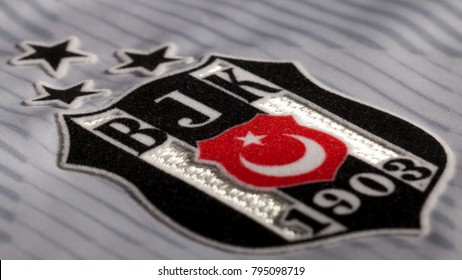 ISTANBUL, TURKEY - JANUARY 18, 2016: The Logo of Besiktas Football Club of Turkey on a jersey.