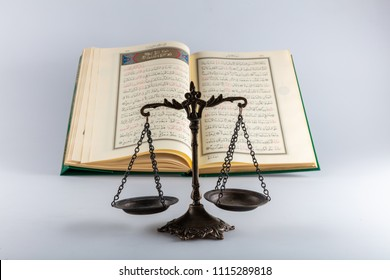 Istanbul / Turkey - January 18 , 2018 ;  Quran - holy book of Muslims around the world. Concept of Quran and Justice .