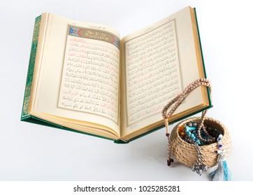 Istanbul , Turkey - January 18,2018; Koran ; The holy  book of moslems , rosary basket