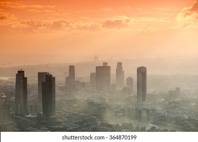 Istanbul, Turkey; January 19, 2015: View of Istanbul with reverse light during the sunset in snowy and hazy day