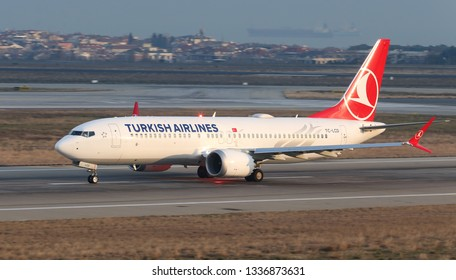 ISTANBUL, TURKEY - JANUARY 19, 2019: Turkish Airlines Boeing 737-8MAX (CN 60035) takes off from Istanbul Ataturk Airport. THY grounds Boeing 737 MAX planes after Ethiopia crash
