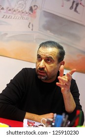 ISTANBUL, TURKEY - JANUARY 19: Famous Turkish producer and art director Mustafa Erdogan at press meeting in Bomonti Street on January 19, 2012 in Istanbul, Turkey.