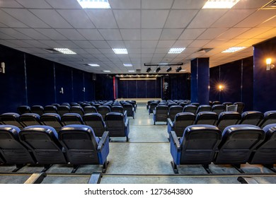 Istanbul, Turkey - January 2, 2019; empty conference,theater or cinema hall with rows of blue seats. Empty auditorium in the theater.