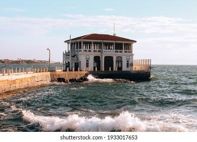 Istanbul, Turkey - January 2, 2021: Historic pier in Moda district